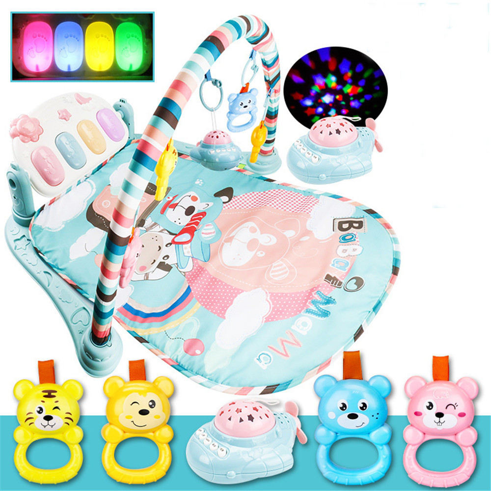 Kids Boy Girl Newborns Fun Novelty Toy Lovely Baby Discover Grow Kick And Play Piano Gym Concert Hall Projector Rattle
