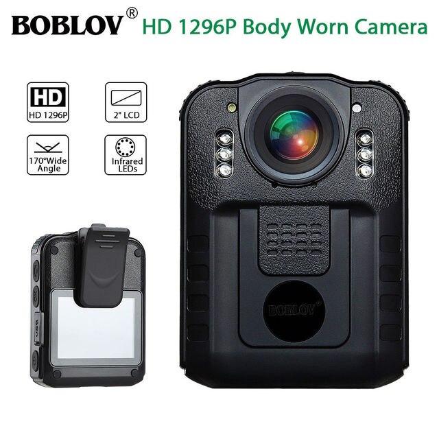 BOBLOV WN9 Novatek 96650 LCD de 2,0 pulgadas HD 1296 P Cámara de la policía de la visión nocturna infrarroja de Audio Video Recorder de cuerpo del USB usado DE LA CÁMARA