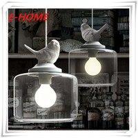 Creative American Village Cafe Restaurant Single Head Glass Chandelier Bedroom Children S Room Bird Hanging