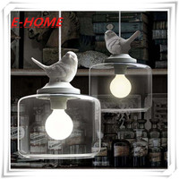 Creative American Village Cafe Restaurant Single Head Glass Chandelier Bedroom Children S Room Bird Hanging