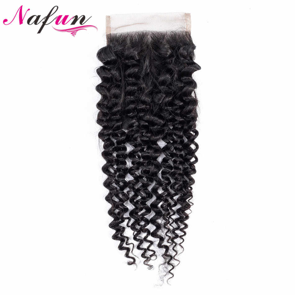 NAFUN Hair Kinky Curly Brazilian Lace Closure Non-Remy Hair 4*4 Closure 100% Human Hair Closure Natural Color Free Shipping