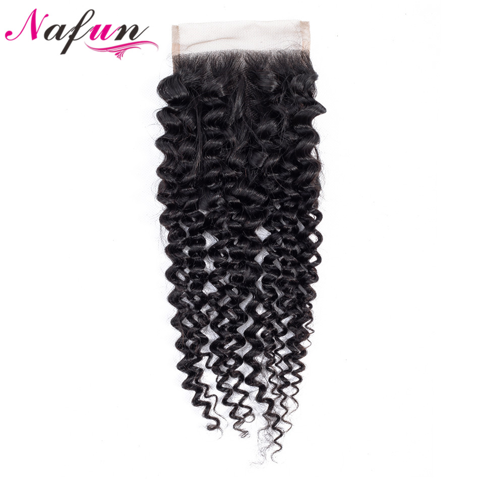 NAFUN Hair Kinky Curly Brazilian Lace Closure Non Remy Hair 4*4 Closure 100% Human Hair Natural Color 8-20 Inch Free Shipping