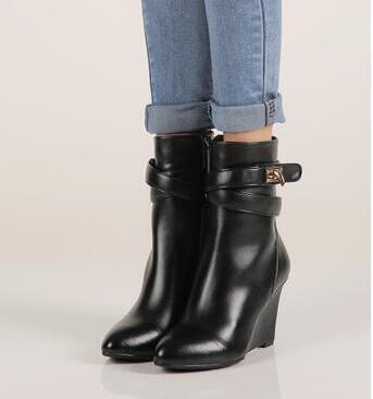 2017 mode femmes chaussures talons hauts solides compensées bout pointu femmes bottes noir bottines chaudes Botas Mujer pompes Sapatos Femininas - 3
