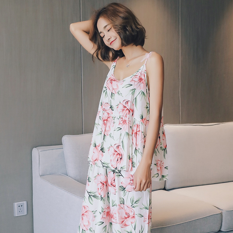 Summer Woman Pajamas Set Floral Spaghetti Strap Sleeveless Lovely Cure Female Pyjama Home Wear Suit Sleep Clothing For Woman New