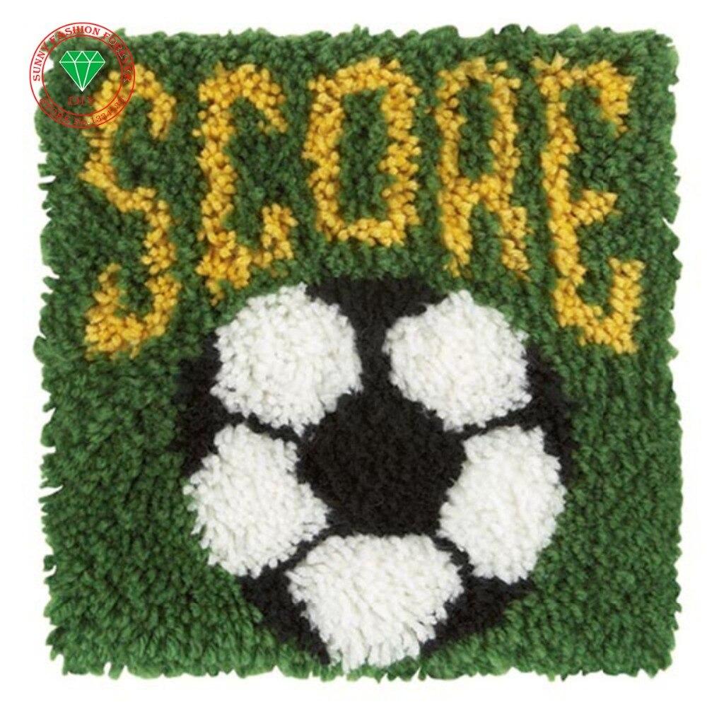 Football Needlework Latch Hook Rug Kits Pillowcase Diy