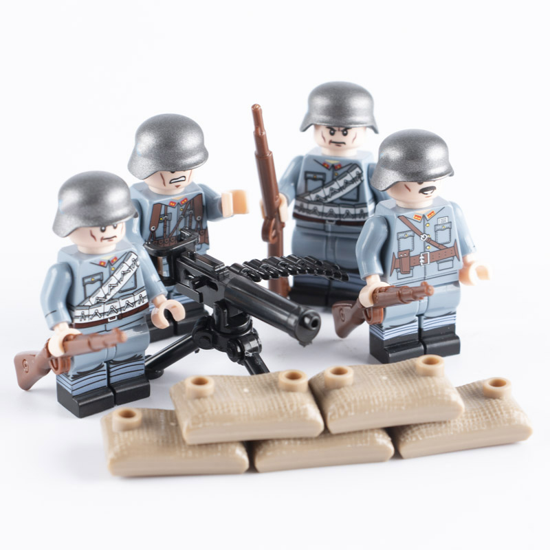 WW2 Military Chinese Soldier Figures Blocks Toys Germany Army Helmet Weapon Infantry Gun Building Blocks Brick Toys For Children