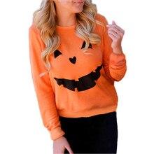 Brand sweatshirt women 2017 autumn Women Halloween Pumpkin Print Long Sleeve Sweatshirt Pullover Tops Blouse Shirt new fashion