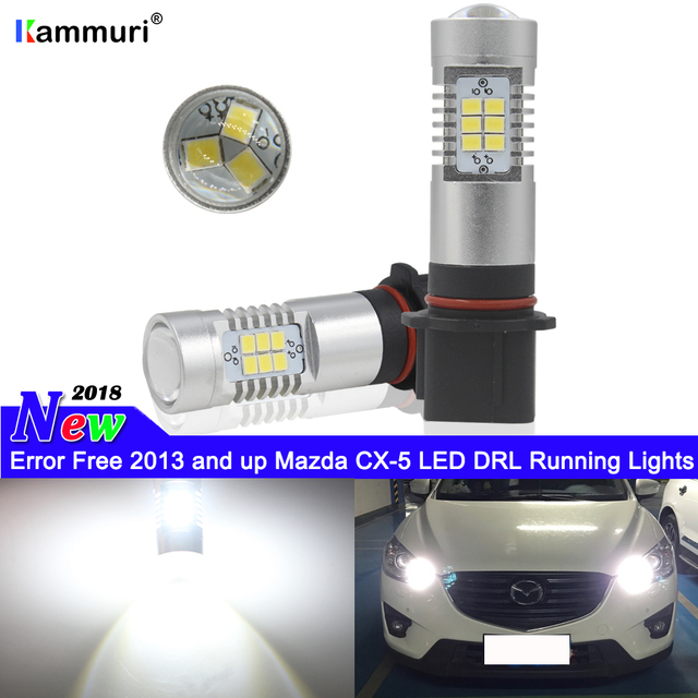 HID white P13W LED Canbus 21-SMD SH24W PSX26W LED Bulbs For Mazda CX-5 CX5 LED DRL Daytime Running Lights