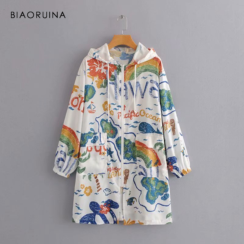 BIAORUINA Korean Style Women Colorful Printed Thin Hooded   Trench   Coat Female Loose Summer Sunscreen Long Coat Outerwear