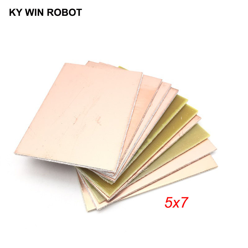 10 Pcs FR4 PCB Single Side Copper Clad Plate DIY PCB Kit Laminate Circuit Board 5x7cm