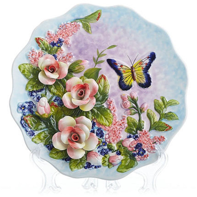 NEW creative handmade painted emboss butterfly flower decorative hanging plate ceramic plate modern home decoration ornaments  sc 1 st  AliExpress.com & NEW creative handmade painted emboss butterfly flower decorative ...
