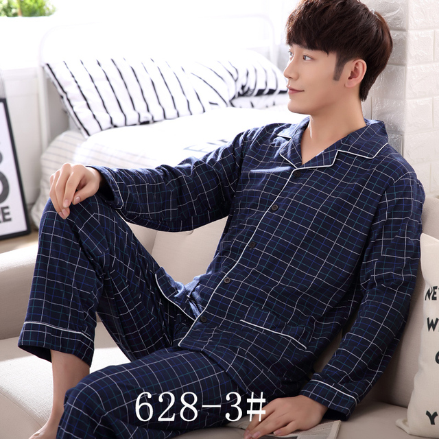 2017 spring and autumn spring men's pajamas cotton men's large size home service suit pajamas men's cotton long sleeves
