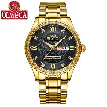 abae4b90abb2 2019 Новый OLMECA часы Для мужчин Лидирующий бренд мужской моды Нержавеющая  сталь световой Водонепроницаемый наручные часы для делового Мужчин..