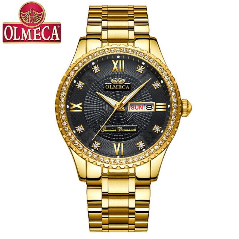2019 nowy OLMECA zegarki mężczyźni Top marka moda mężczyzna ze stali nierdzewnej świecenia wodoodporna biznesu mężczyzna zegarek kwarcowy Relogio Masculino w Zegarki kwarcowe od Zegarki na  Grupa 1