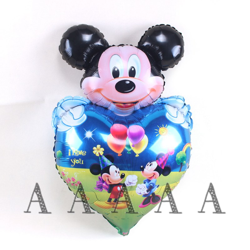 2pcs mickey birthday balloons foil material minnie mickey mouse heart helium balloons for party supplies