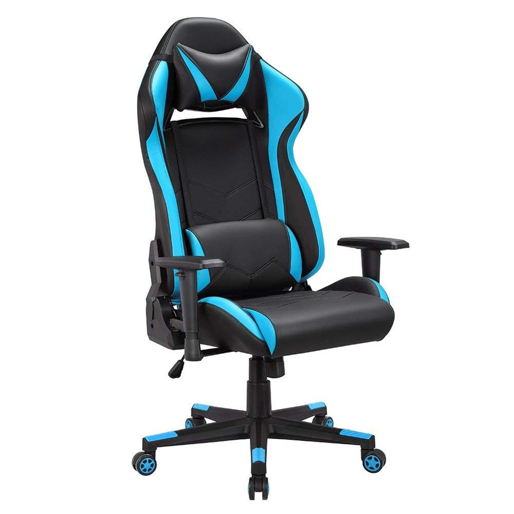 Gaming Office Leathe Executive Chair Swivel Computer Chair With Lumbar Support And Rocker Headrest And Seat Height Adjustment