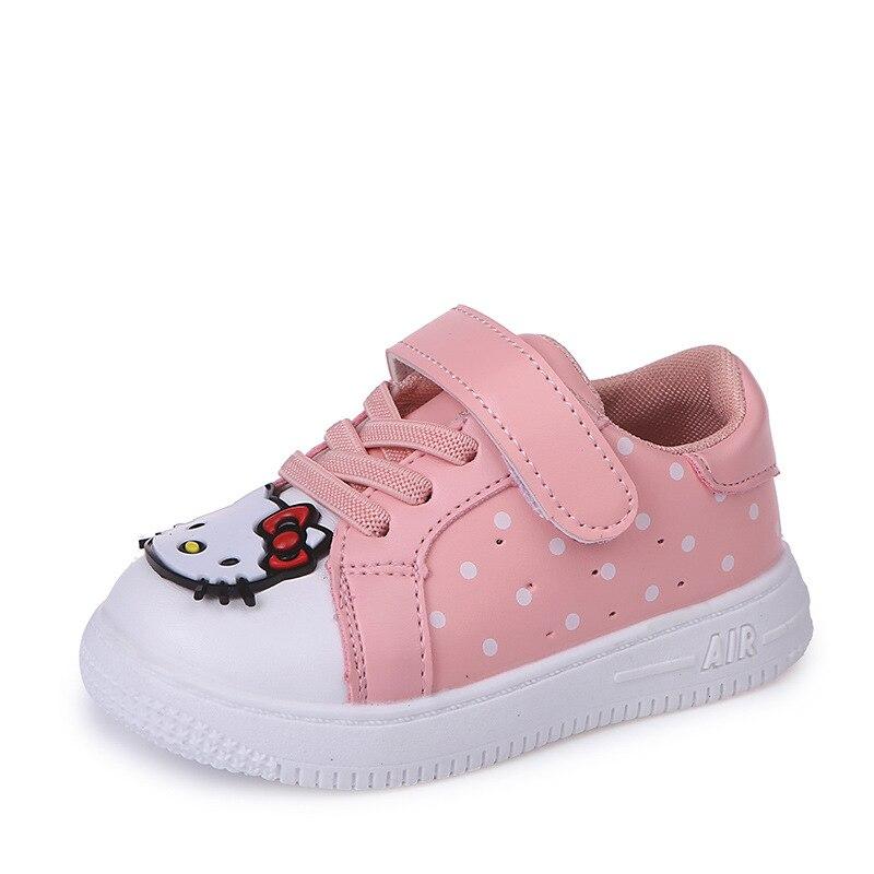 20bab9479 JGVIKOTO Модная брендовая обувь для девочек милый сладкий с рисунок «Hello  Kitty» Дизайн детские спортивные кроссовки скейт обувь детская 21-30
