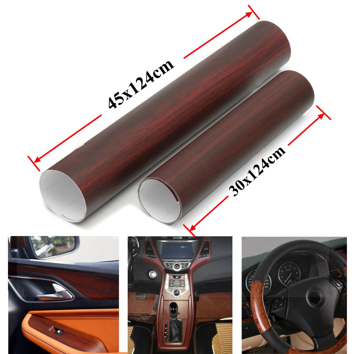 30x124cm 45x124cm car styling automotive interior stickers truck trailer pickup wood grain vinyl. Black Bedroom Furniture Sets. Home Design Ideas