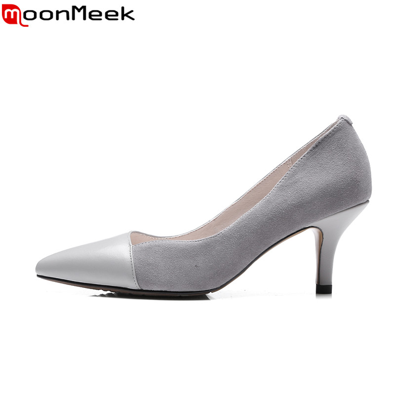 MoonMeek 2018 spring autumn summer sexy mature ladies pumps extreme high heels pointed toe with thin heels woman shoes moonmeek spring summer new arrive high heels pointed toe with buckle sexy flock thin heel women pumps wedding party shoes