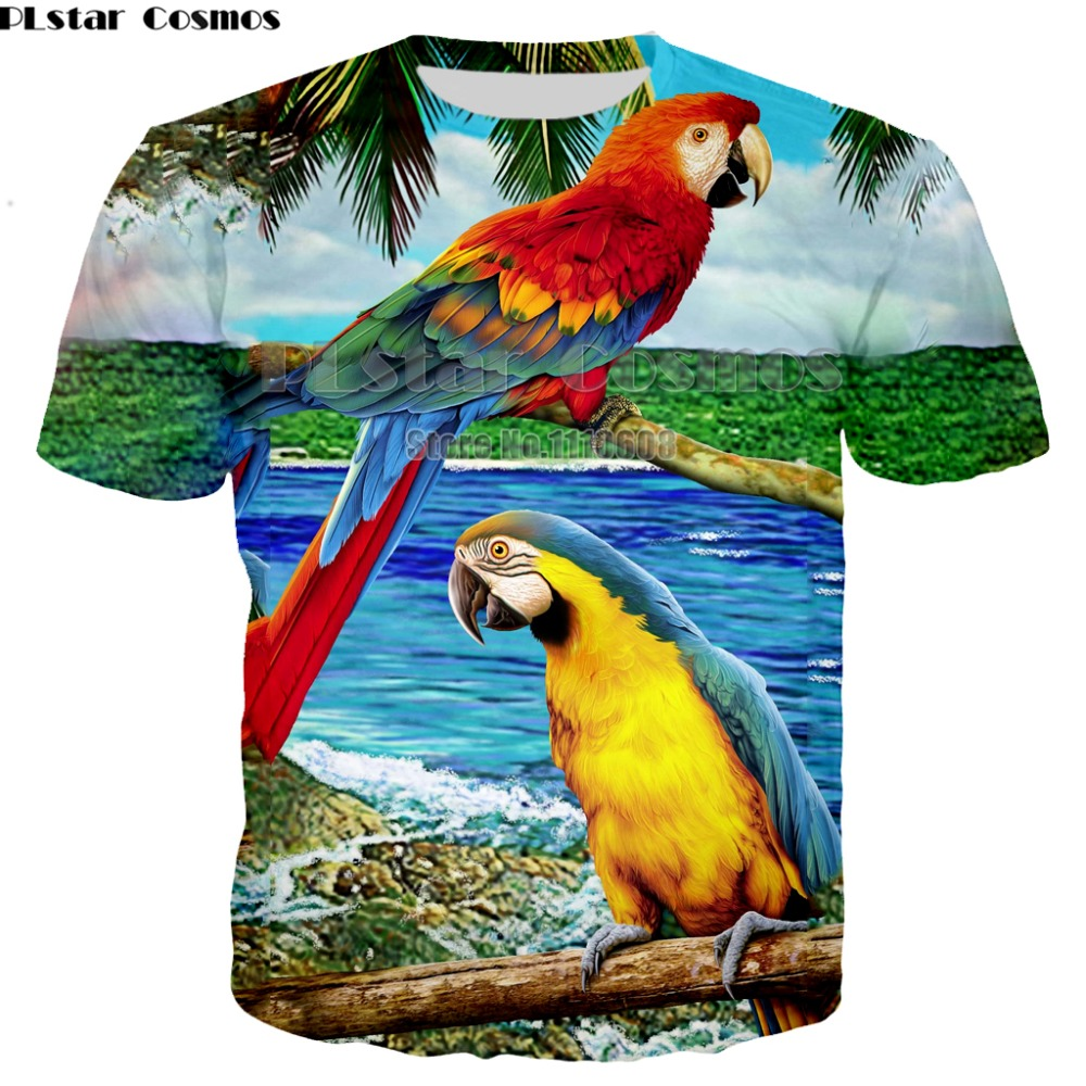 Summer Men Parrot T-Shirt Colorful Flower Bird 3D Printed T-Shirts Men Funny Tees Tops Tee Shirt Pluse Size