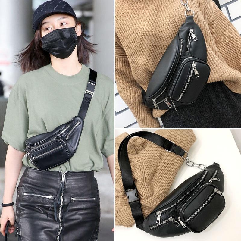 b2bd1861091 US $15.99 |2018 Waist Bags Women Fashion Designer Fanny Pack Vintage Pu  Leather Belt Bag Female Chains Waist Pack Bolsa Feminina bum bag-in Waist  ...
