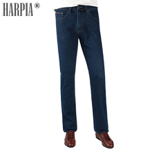 HARPIA Jeans Mens Classic Jeans Male Denim Dark blue Casual Simple Trousers Straight Pants Elasticity Top quality Pant Size32-42