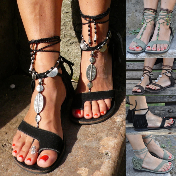 Woman Fashion Tassel Straps Flat Sandals For Women Flip-flops Women Summer Beach Shoes Plus Size 36-43 women sandals fashion tassel summer shoes woman size 35 43 flat sandals metal decoration casual shoes female flip flops sandales