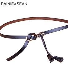 RAINIE SEAN Leather Tie Belt Women Genuine Black Thin Elegant British Cowhide Ladies Skinny Waistband