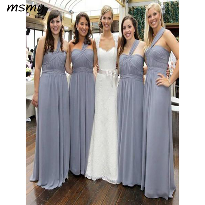 New Elegant A-Line Bridesmaid Dresses One Shoulder Grey Chiffon Cheap Long Bridesmaid Dresses With Lace Custom Made