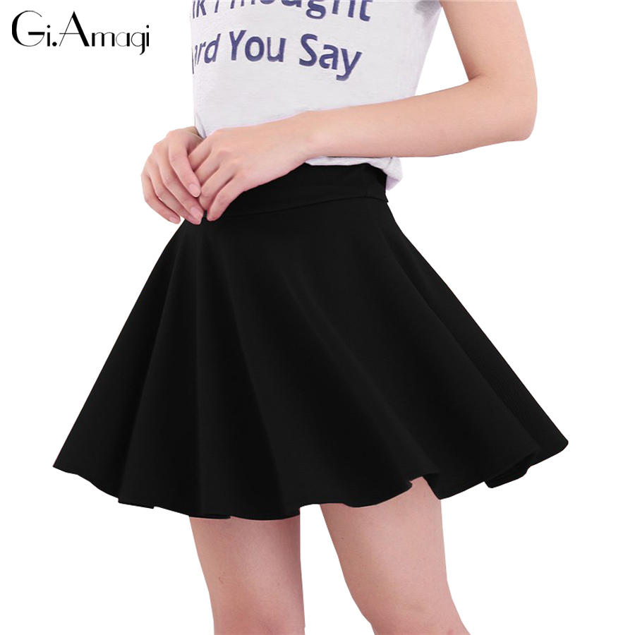 Fashion Ladies Elegant A Line Skirts 2017 Women Vintage High Waist Mini Bottoms Pleated Skirt Saia Preta Slim Midi Skirt
