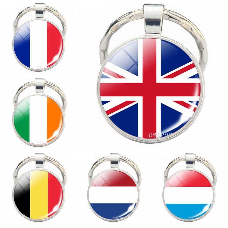 Западно-европейские страны брелок для ключей «флаг» Великобритания Франция Ирландия Панама Бельгия Нидерланды Флаг Брелок Подарки