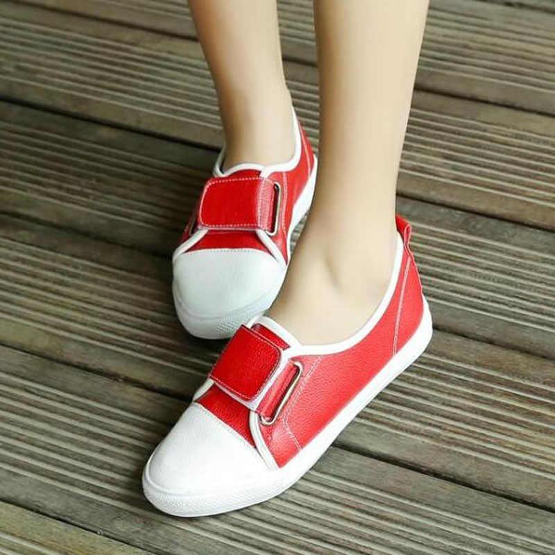 Aanpassen Size 29-46 Flats Schoenen Vrouwen Klittenband Platte Platform Schoenen Lente Dames Dikke Bodem Rood Wit zwarte Schoenen D-301