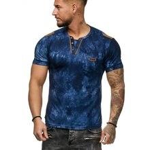 MarKyi fashion print v-neck men short sleeve shirt 2019 new hip hop 3d t slim fit mens designer shirts