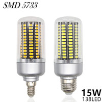 Dimmable LED Lamp E27 220V 15W 138LED 5733 SMD Lampada LED Bulbs E14 Corn Light Lamparas