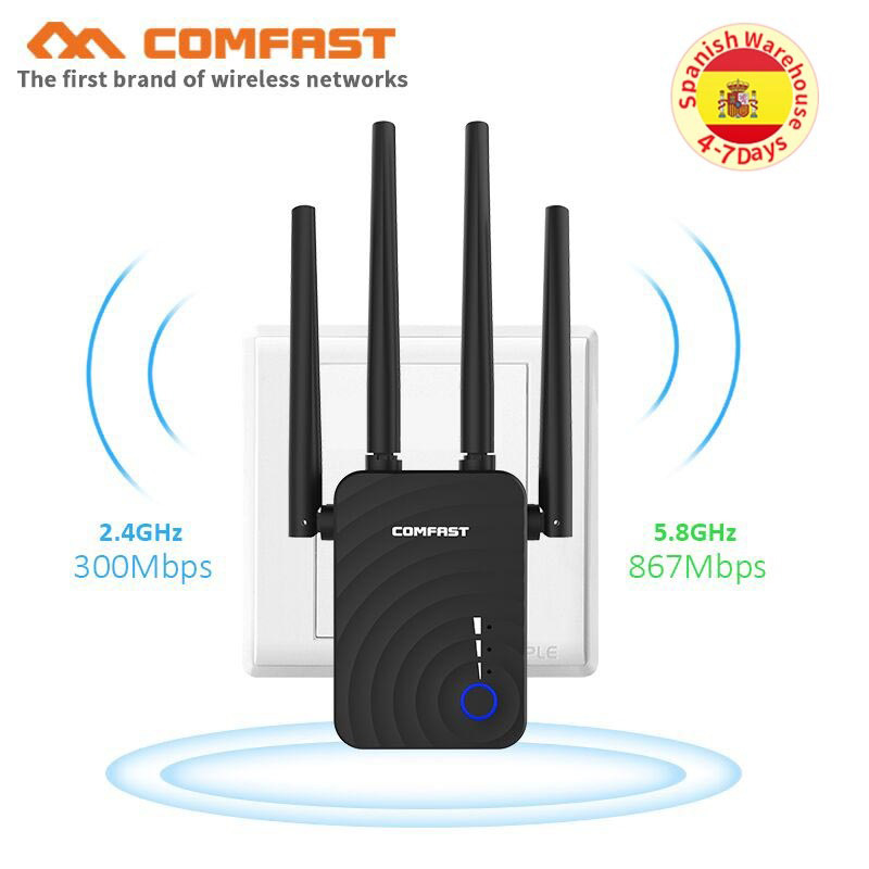 Wireless Wifi Repeater/Router 1200Mbps 2.4G 5G Dual Band Wifi Signal Amplifier Signal Booster Network Range Extender 4 antennas(China)