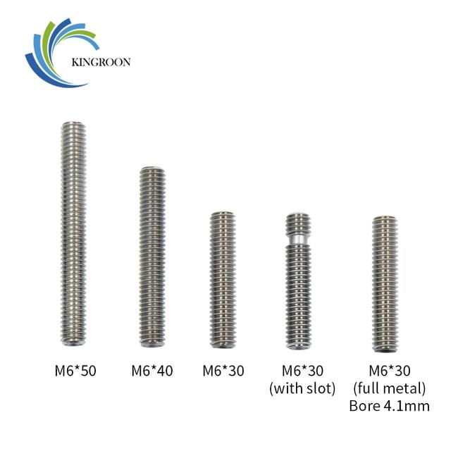 5 pcs/lot MK8 MK9 Gorge 1.75mm Filament Acier Inoxydable Longue M6 30mm Fil 3D Imprimantes Pièces avec Téflon tube Full Metal Partie