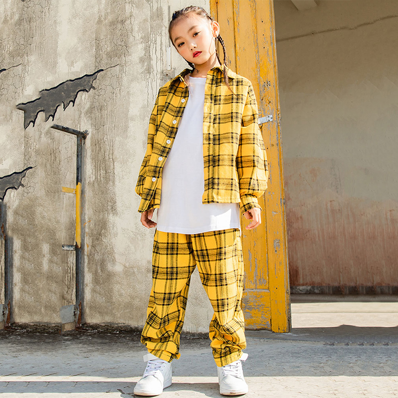 Hip Hop Costume Girls Boys Yellow Plaid Shirt Pants Modern Jazz Dancing Outfits Kids Street Dance Clothing Stage Wear DN2602