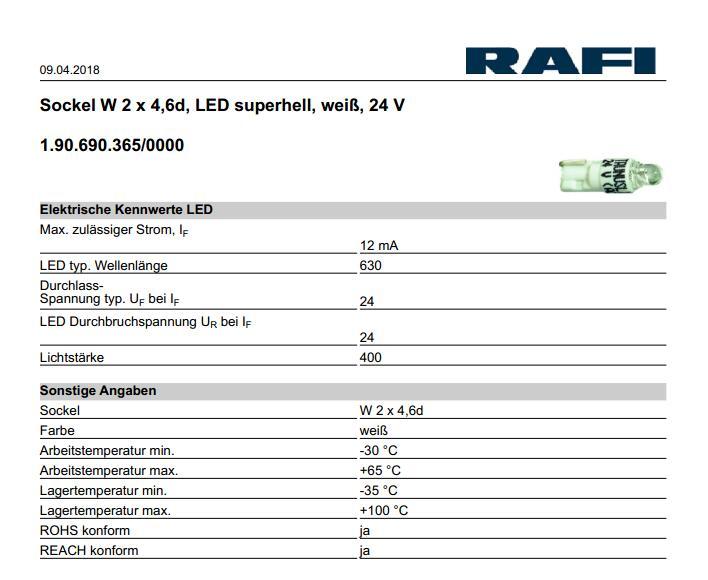 [VK] RAFI lumière LED interrupteur de remplacement de lampe 24 V 2x4. 6d blanc rouge vert lampe RAFI 1.190.690.365/0000 - 4