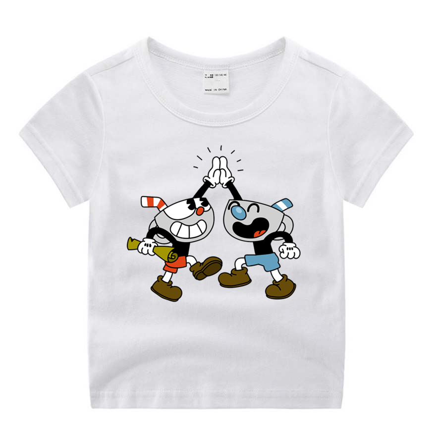 Children Cartoon Cuphead Movie Funny Cartoon Print T-shirt Kids Summer O-Neck Tops Boys & Girls Tshirt Casual Baby Clothes