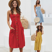 Women Sexy Printing Buttons Off Shoulder Sleeveless Dress Princess Dress Spring Summer Autumn Vestidos