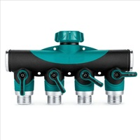 Metal Four Way Water Separator Garden Water Pipe Faucet Joint Faucet Manifold Fitting For Drip Irrigation Connector Fitting