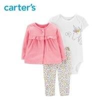 3pcs colorful unicorn bodysuit floral pants button front cardigan set Carter s baby girl spring autumn