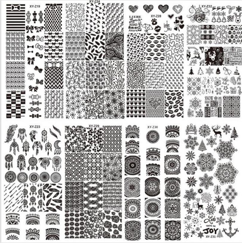 DIY Nail Latest 32 Styles Art Stamp Template Image Plates Polish Stamping Decal JUL11 dropship 4pcs christmas halloween owl 4 design stainless steel nail plates nail art image konad print stamp stamping manicure template