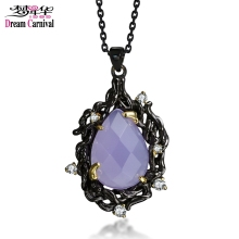 DreamCarnival1989 Gothic Necklace for Women Big Purple Stone Pendant Discount Coupon Black Gold Color Deluxe CZ Vintage Jewelry