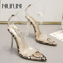 Sexy Pointed Transparent Stiletto Womens Sandals Snake Pattern High Heels 2019 New Summer Ladies Shoes Belt  Buckle