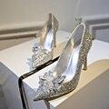 2017 Nueva Primavera Las Mujeres Atractivas Bombas de Cenicienta Zapatos de Plata Señaló zapatos de Tacón Alto Femeninos Individuales de tacón alto de la Boda Zapatos de Novia XP15