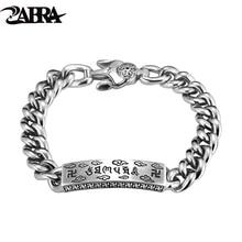 ZABRA 925 Sterling Silver Religion Six Words Link Bracelet Jewelry Biker Gothic For Women Men Christmas