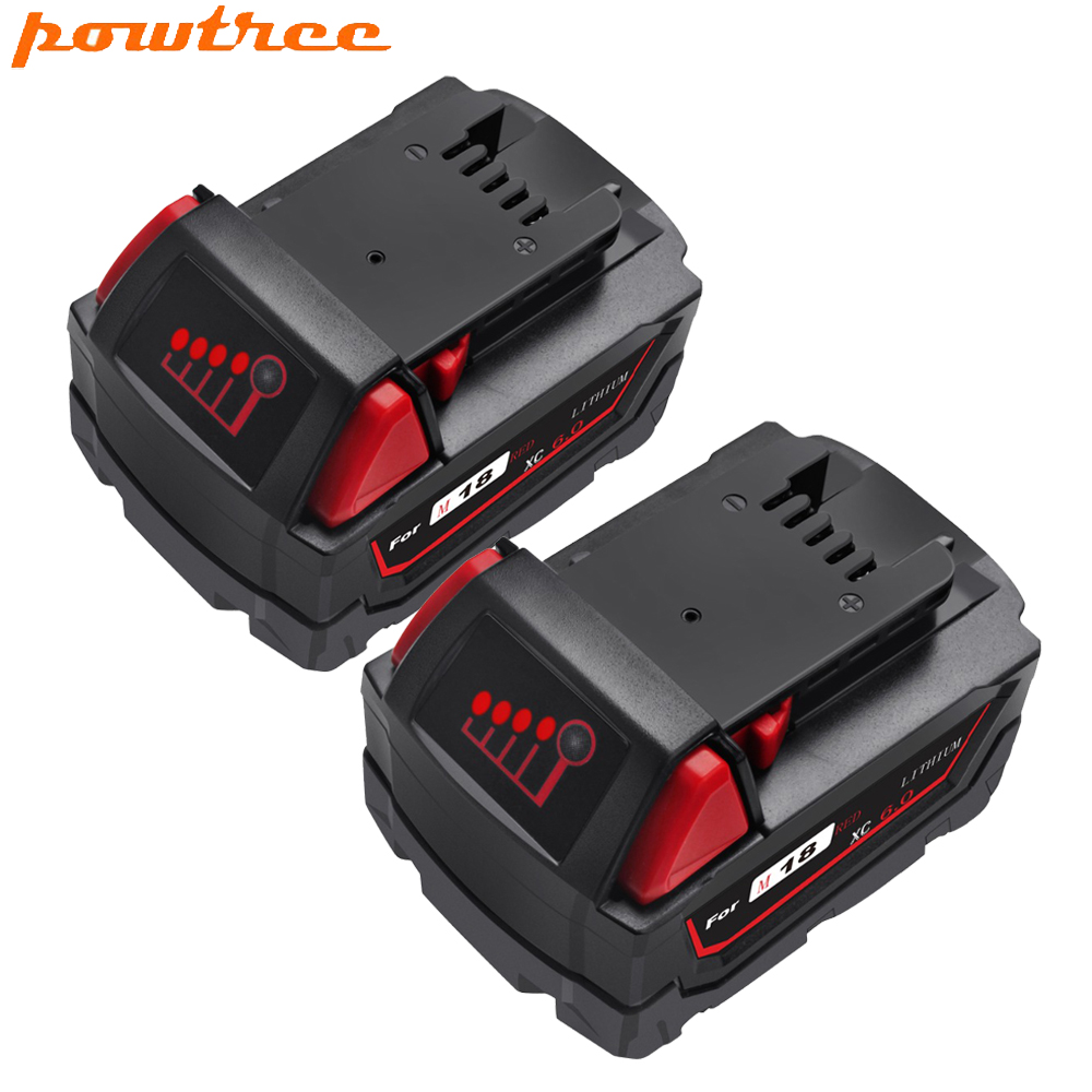Powtree 2 Pack 6000 mAh 18 V pour Milwaukee M18 outils électriques remplacement de batterie Li-ion Milwaukee 48-11-1811 48-11-1815 48-11-1820 4
