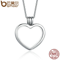 BAMOER High Quality Genuine 925 Sterling Silver Heart Memories Floating Box Necklaces Pendants Authentic Silver Jewelry