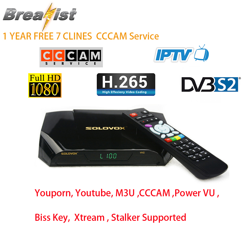 SoloVox V9S HD DVB S/S2 Satellite Full HD 1 Year 7 Clines CCCam Receptor Support Power VU Youtube M3U Xtream Wifi For European